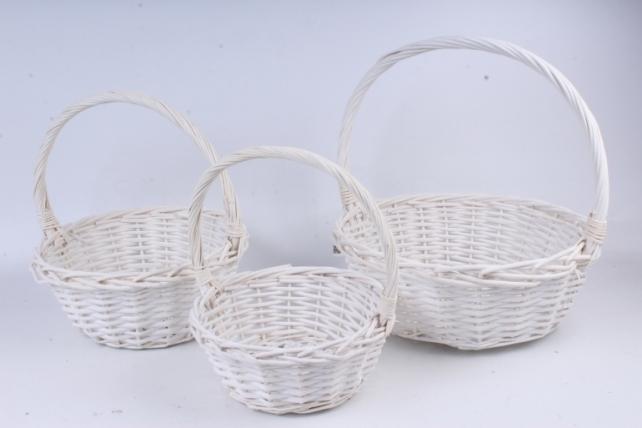 Набор плетеных корзин из 3шт-(ива) Круглая белая  КС-70