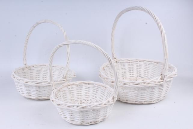 Набор плетеных корзин из 3шт-(ива) Круглая белая    КС-13