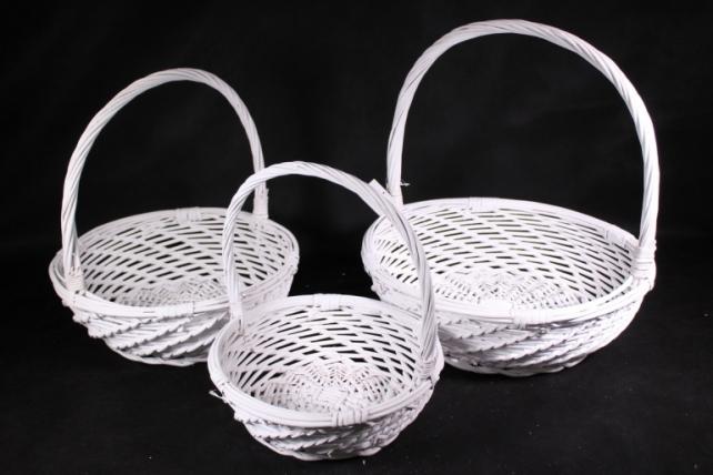 Набор плетеных корзин из 3шт-(ива) Круглая белая    КС-389