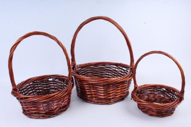 Набор плетеных корзин из 3шт-(ива) Круглая коричневая   (КС-311)