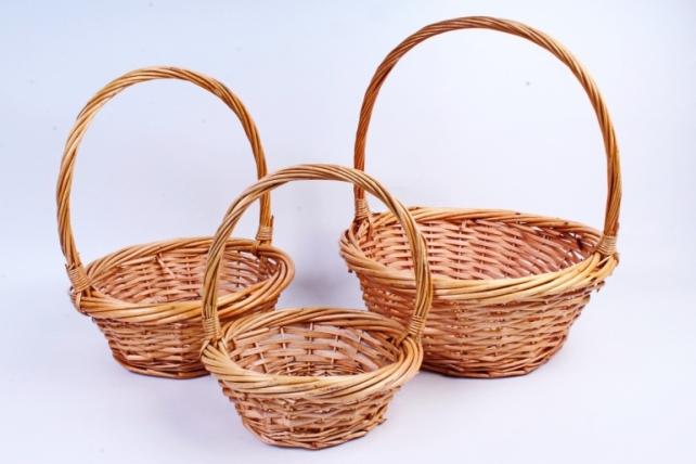Набор плетеных корзин из 3шт-(ива) Круглая Медовая КС-311