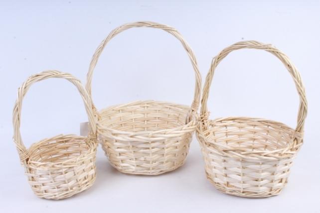 Набор плетеных корзин из 3шт-(ива) Круглая натуральная   КС-388
