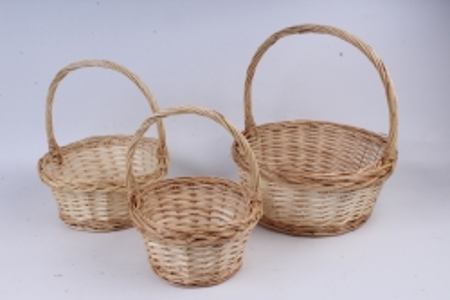 Набор плетеных корзин из 3шт-(ива) Круглая натуральная   КС-89