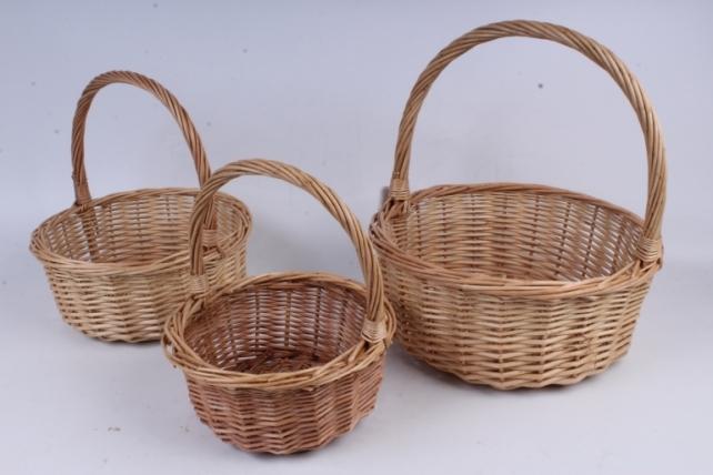 Набор плетеных корзин из 3шт-(ива) Круглая натуральная КС-92