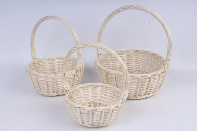 Набор плетеных корзин из 3шт-(ива) Круглая натуральная  КС-93