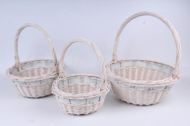 Набор плетеных корзин из 3шт-(ива) Круглая     КС-88