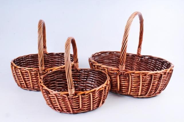 Набор плетеных корзин из 3шт-(ива) Овал коричневый  КС-112