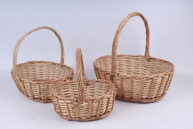 Набор плетеных корзин из 3шт-(ива) Овал натуральная   КС-107
