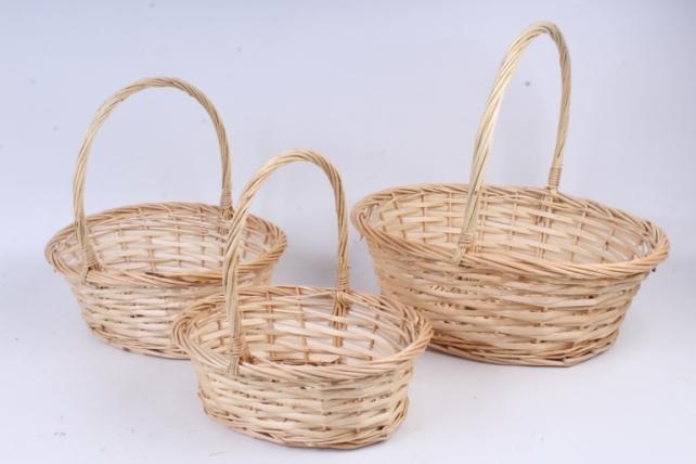 Набор плетеных корзин из 3шт-(ива) Овал натуральная  КС-106