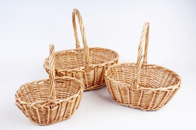 Набор плетеных корзин из 3шт-(ива) Овал натуральный   КС-116
