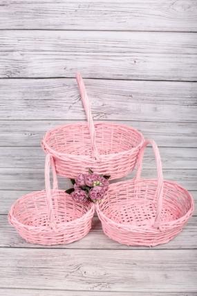 Набор плетеных корзин из 3шт-(ива) Овал розовый 43*30, h=42/15см  КС-125