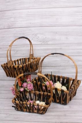 Набор плетеных корзин из 3шт-(ива) Прямоугольник  40*28 H=12/40см КС-824