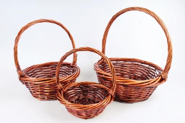 Набор плетеных корзин из 3шт-(ива)  Круг коричневый  КС-311