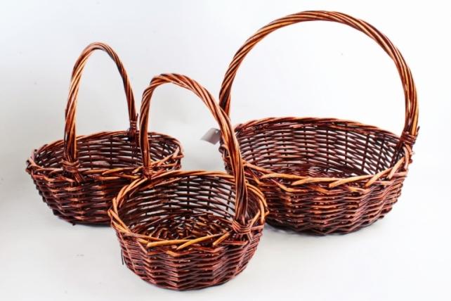 Набор плетеных корзин из 3шт-(ива)  Круг коричневый  -338