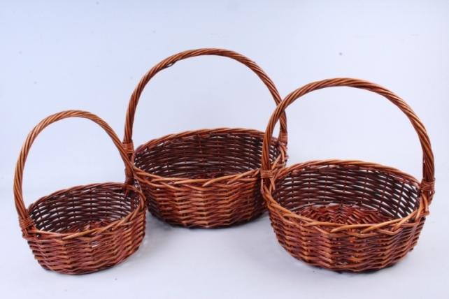 Набор плетеных корзин из 3шт-(ива)  Круг коричневый   КС-338