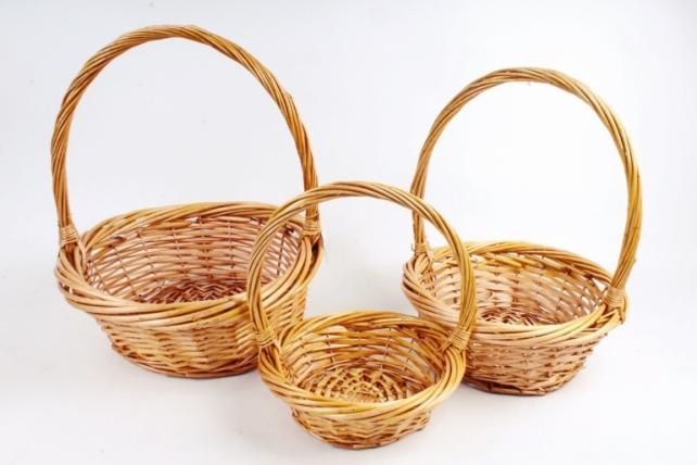 Набор плетеных корзин из 3шт-(ива)  Круг медовый   КС-311
