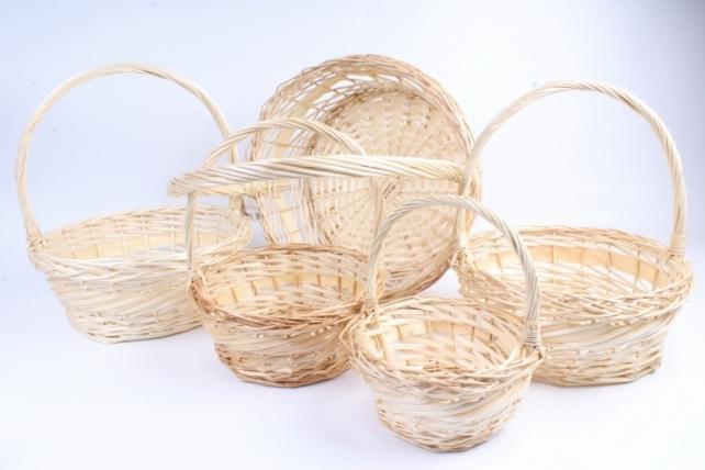 Набор плетеных корзин из 5шт-(ива)  Круг натуральный  КС-324