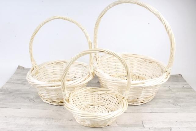 Набор плетеных корзин из 3шт-(ива)  Круг натуральный   КС-311