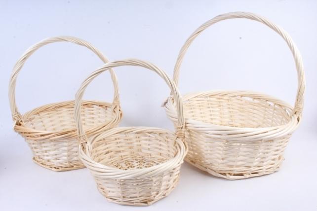 Набор плетеных корзин из 3шт-(ива)  Круг натуральный     КС-352