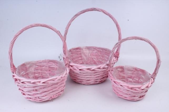 Набор плетеных корзин из 3шт-(ива)  Круг розовый   КС-377