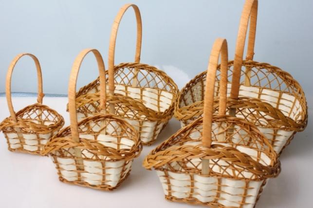 Набор плетеных корзин корзин (5шт)  27х20х12см
