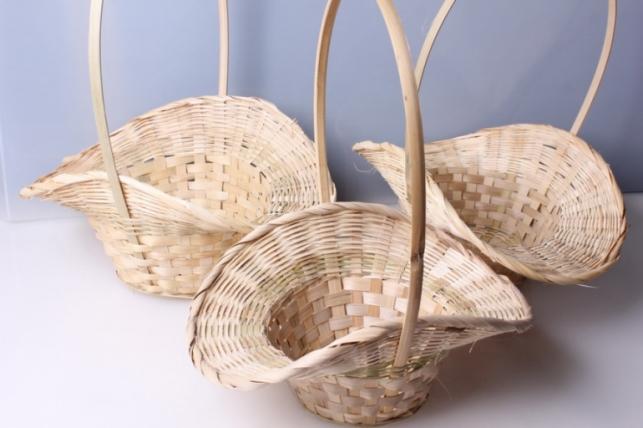 Набор плетеных корзин Шляпа из 3шт.Разноразмерные. (бамбук) 5832