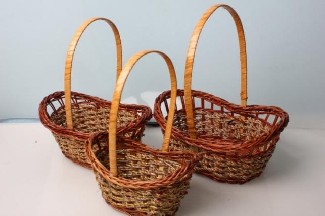 Набор плетеных разноразмерных корзин (3шт) 29х20х9см