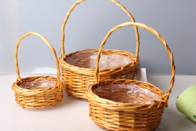 Набор плетеных разноразмерных корзин (3шт) ива, медовые d=30, h=11/32см