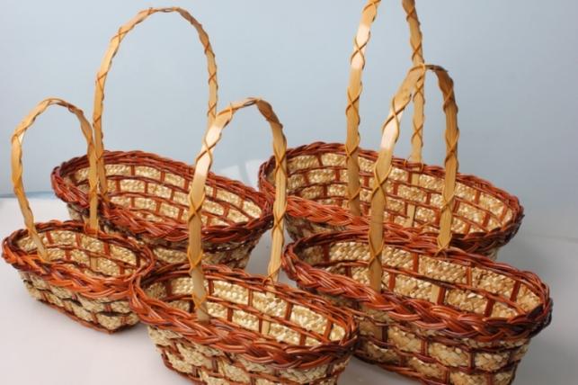 Набор плетеных разноразмерных корзин овал (5шт)  40х23х12см
