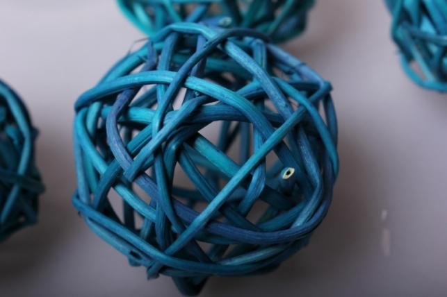 набор плетеных шаров из ротанг d=5см бирюзовые (12шт в уп)