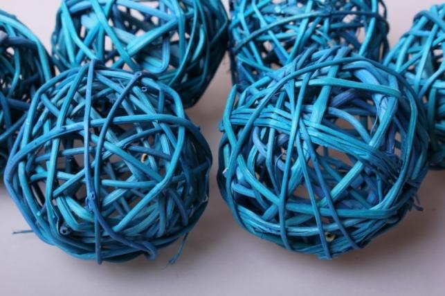 набор плетеных шаров из ротанг d=8см бирюзовые  (6шт в уп)