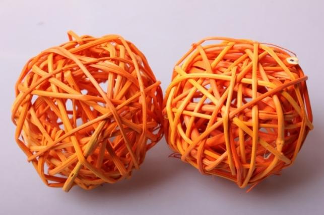 набор плетеных шаров из ротанг d=8см оранжевые (6шт в уп)