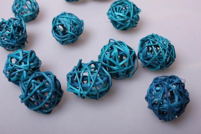 Набор плетеных шаров из ротанга d=3см Бирюзовые (12шт в уп)
