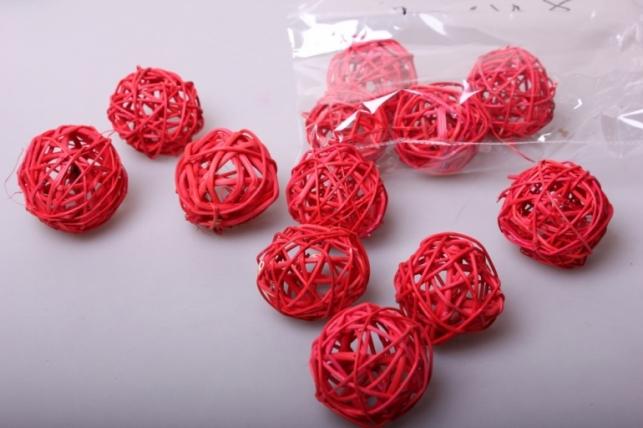 набор плетеных шаров из ротанга d=5см красные (12шт в уп)