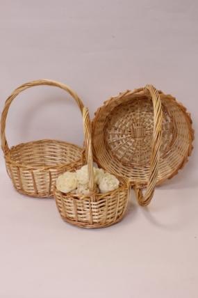 Набор плетеных  корзин (ива) из 3шт - Круг  35XH14/35XB27см  натуральный 0028М
