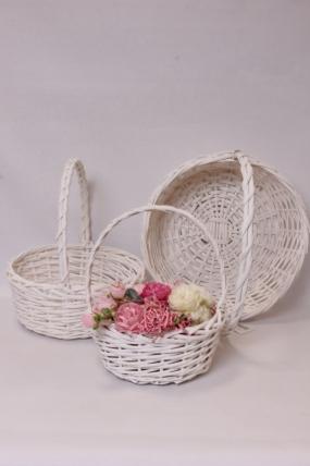 Набор плетеныз корзин (ива) из 3шт - Круг, белый 38*38*14*40см  0607Н