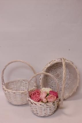 Набор плетеныз корзин (ива) из 3шт - Круг, выбеленные 36*36*13*36см  6328Н