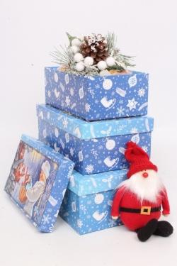 Набор подар. коробок из 3 шт - Прямоуг. НГ № 74 Лесные жители 74016  23см*15см*8 Пин74НГ-16