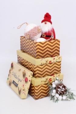 Набор подар. коробок из 3 шт - Прямоуг. НГ №74 С НГ и Рождеством 74013  23см*15см*8 Пин74НГ-13