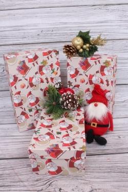 Набор подар. коробок из 3 шт - Прямоугольник НГ № 74 Дед Мороз 23см*16см*9,5 Пин74НГ-34