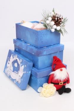 Набор подар. коробок из 3 шт - Прямоугольник НГ № 74 Хрустальное утро 74021 23см*15см*8 Пин74НГ-21