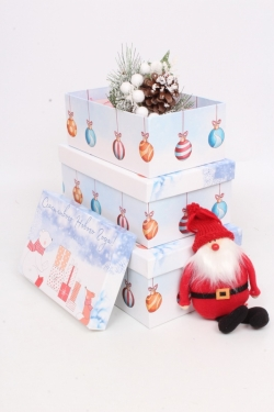 Набор подар. коробок из 3 шт - Прямоугольник НГ № 74 Счастливого НГ! 74015 23см*15см*8 Пин74НГ-15