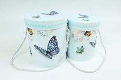 Набор подарочные коробок из 2 шт - Цилиндр Бабочка голубая   К182