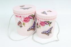 Набор подарочные коробок из 2 шт - Цилиндр Бабочка на розовом   К182