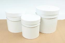 Набор подарочные коробок из 3 шт - Цилиндр белый  К180