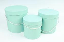 Набор подарочные коробок из 3 шт - Цилиндр бирюза  К180