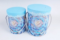 Набор подарочные коробок из 2 шт - Цилиндр Фантазия голубой   К446