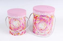 Набор подарочные коробок из 2 шт - Цилиндр Фантазия розовый   К446