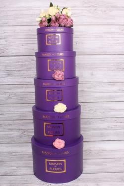 Набор подарочные коробок из 5 шт - Цилиндр фиолетовый  d=31, h=21см  В169
