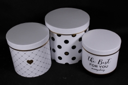 Набор подарочные коробок из 3 шт - Цилиндр Горох